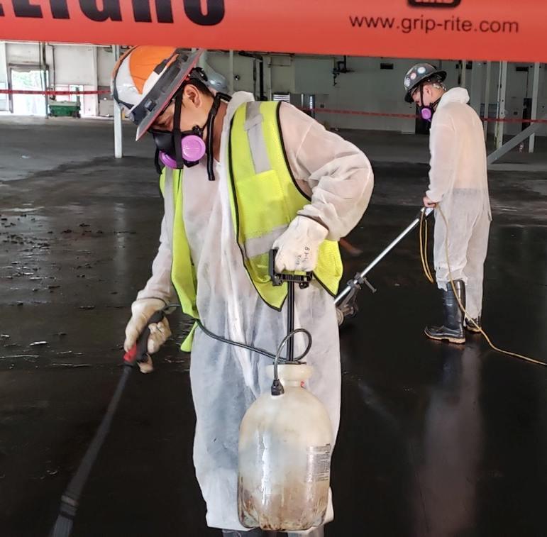 CSI providing abatement service to interior of commercial building